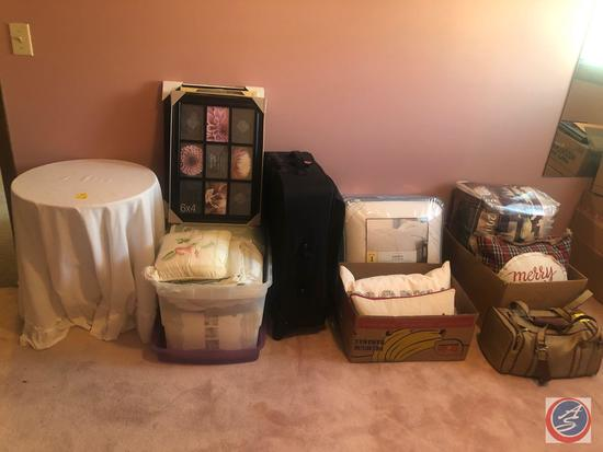 Side Table, Picture Frames New in Package, Queen Size Down Comforter New In Package, Queen Bed