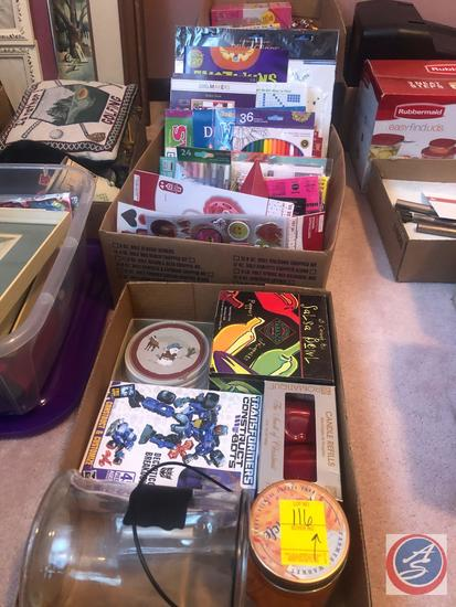 Ceramic Salsa Bowl New in Box, Assorted Toys Such As Lego Racers, Hot Wheel, Valentines Day Card New