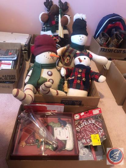Assorted Stuffed Snowman Decorations, Reindeer Decorations, Huskers Tree Ornament, Neil Diamond