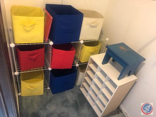 """6 Cube Wire Storage Organizer with Nine Open Cubes and 1 New in Package Measuring 45"""" X 14"""" X 29, 15"""