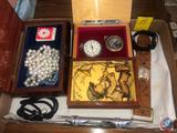 Hummel Jewelry/Music Box Containing and Westclox Pocket Watch, Mickey Mouse Wrist Watch with Leather