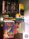 VHS Tapes Including Walt Disneys Lion King, The Aristocats and Beauty and the Beast and DVD's