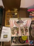 Costume Jewelry in Vintage Jewelry Box, Pulsar Vintage Watch