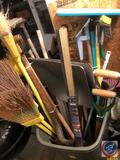 Rubbermaid 55 Gallon Trash Can, (4) Brooms, Scoop Shovels, Sponge Mop, Trench Shovels and More