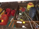 Assorted Gas Cans, Hedge Trimmers, Metal Yard Decorations, Fly Swatters and More