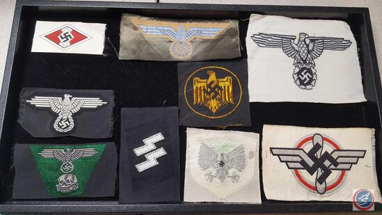(9) German WWII Military Cloth Insignia Grouping. Includes: Hitler Youth HJ; Deutsches Youth Flag