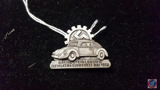 """German WWII 1938 Volkswagen VW Ground Breaking Plant Works Badge. Measures 1 1/2"""" wide by 1 1/8?"""