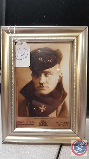 Reprint: Imperial German WWI Baron Manfred von Richthofen Photo Post Card. The frame measures 5