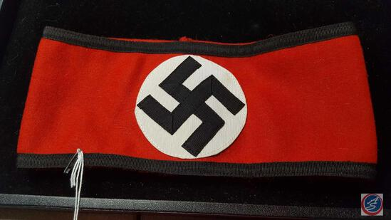 "German WWII Waffen SS Shultz Staffel Swastika Overcoat Arm Band. Measures 9 7/8"" wide by 4 1/4?"
