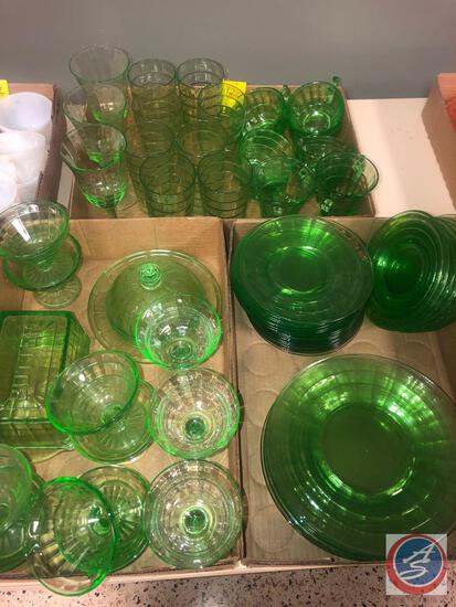 1929-1933 Vintage Anchor Hocking Colonial Block Optic Green Depression Glassware Including (8)