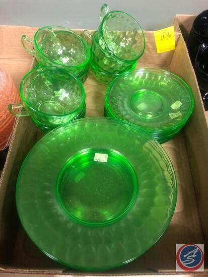 Vintage Federal Thumb Print Pattern Green Depression Glassware Including (6) Cups, (8) Saucers and