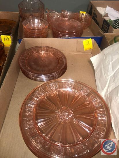 Vintage Pink Depression Glassware Including (6) Cups, (6) Salad Plates, (11) Saucers, Pitcher, (6)