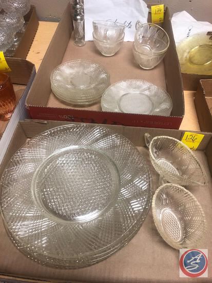 Vintage Hazel-Atlas Startlite Clear Depression Cut Glassware Including Open Sugar Dish, Cream