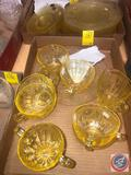 1930-1934 Vintage Anchor Hocking Cameo Yellow Depression Glassware Including (6) Cups, (7) Saucers,