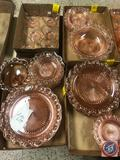Vintage Pink Laced Edge Glassware Including (6) Cups, (6) Saucers, (5) Bread and Butter Plates,