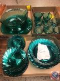 1937-1938 Vintage Jeanette Swirl Ultramarine Blue Green Depression Glassware Including (6) Cups, (6)