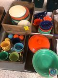 Vintage Homer Laughlin Fiestaware Including (7) Cups [[HANDLE ON ONE CUP IS BROKEN]], (22) Saucers,