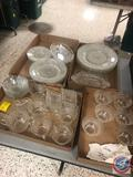 1940's-1960's Vintage Anchor Hocking Sandwich Clear Depression Glassware Including (5) Cups, (6)