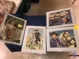 Vintage Framed Cowboy Puzzles, Framed Tom Sawyer Puzzle, Framed Mirrors and More