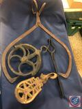 Antique Large Cast Iron Pulley System, Antique Small Cast Iron Pulley System and Antique Cast Iron