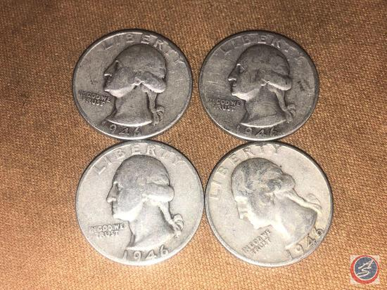 (1) 1946 Philadelphia Mint Washington Quarter and (3) 1946 Denver Mint Washington Quarters