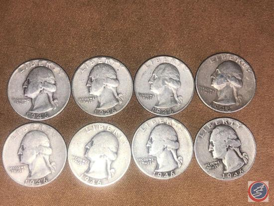 (1) 1946 Denver Mint Washington Quarter and (7) 1946 Philadelphia Mint Washington Quarters