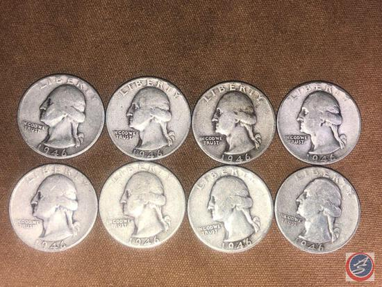 (8) 1946 Philadelphia Mint Washington Quarters