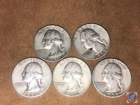 (5) 1958 Denver Mint Washington Quarters