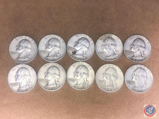 (10) 1958 Denver Mint Washington Quarters