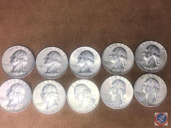 (10) 1964 Denver Mint Washington Quarters
