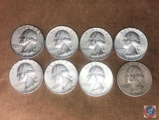 (8) 1964 Denver Mint Washington Quarters