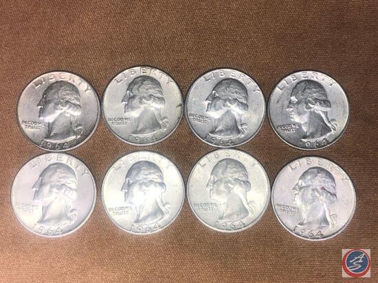 (8) 1964 Denver Mint Washington Quarters