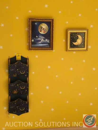 (4) Moon and Stars Small Framed Prints One Signed By Sichola Moss and Ethan Allen Kitchen Chair with