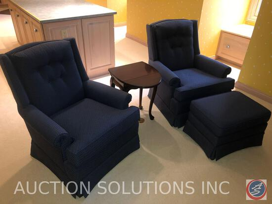 "{{2X$BID}} Blue Arm Chairs Measuring 34"" Tall, Ottoman and Side Table with Drop Sides Measuring 16"