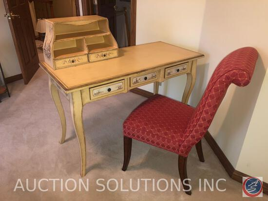 "Desk with Five Drawers and Three Shelves Made in China Marked 574-45-0939 Measuring 48 1/2"" X 23"" X"