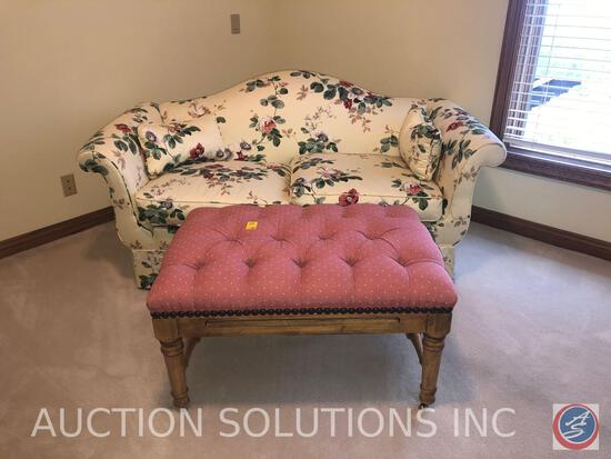 "{{2X$BID}} Rolling Ottoman/Coffee Table with Nail Head Accents Measuring 35"" X 25"" X 18"" and Floral"