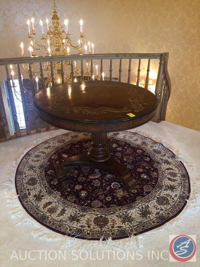 "Three Footed Pedestal Table Measuring 37"" X 28"" and Round Rug Measuring 62"" in Diameter"