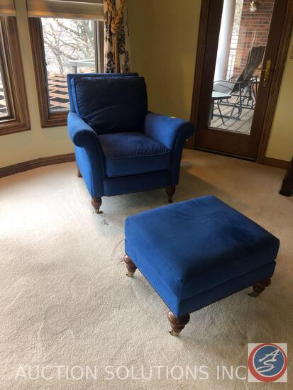 {{2X$BID}} Rolling Century Furniture Blue Upholstered Arm Chair with Nail Head Accents Measuring 36""