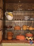 Corn Cob Vase Marked FWC Made in Italy, Louisville Stoneware Pitcher, Spoon Rest and Bowl, Terra