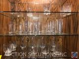 (4) Crackled Glass Tumblers, (4) Scotch Glasses, (4) Ribbed Tumblers and More