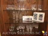 Assorted Rocks and Wine Glasses, (4) Crystal Champagne Flutes, Luminarc Card Party Double