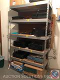 Six Tier Wood and Metal Shelving Unit Measuring 48 1/2