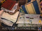 Assorted Table Runners, Towels, Throw Pillows, Bench Seating Pads and More