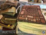 (2) Outdoor Door Mats, Assorted Bathroom Rugs, Table Covering, Salerino Chanel Viscoce Measuring 2ft