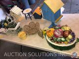 Bird Houses, (2) Decorative Bird Cages, Bunny, Wildwood Accents 396262 Ceramic Cookie Jar with Lid