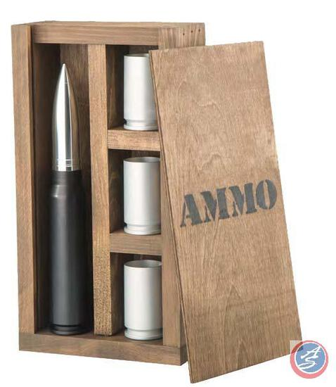Bar Set with 30mm A-10 Flask and Shot Glasses Stock your home bar, man cave, or she-shed with this