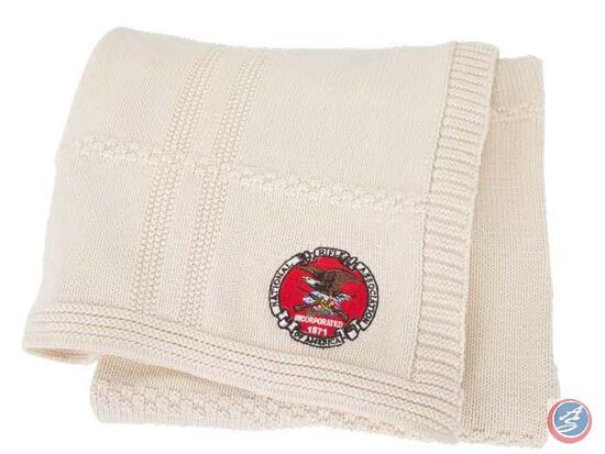 Blanket with NRA Seal Show your support for our right to bear arms with this knit throw featuring