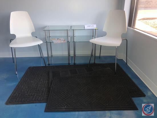 "(4) Entry Way Rug Assorted Sizes, (2) Glass and Metal End Tables Measuring 16 1/2"" X 16 1/2"" X 24"","