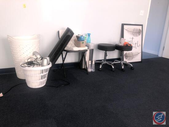 (2) Rolling Adjustable Stools, (2) Large Hampers, (3) ION Hair Dryers, (2) Framed Prints That Say