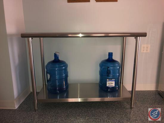 "Two Tier Stainless Steel Prep Table Marked TLS-0201-2 Measuring 48"" X 24"" X 35"" and (2) Ocean Water"